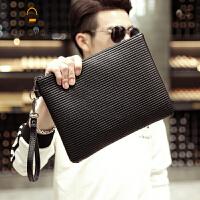 男士手包韩版男士新款手抓包 潮流时尚文件手拿包 休闲商务文件包 黑色