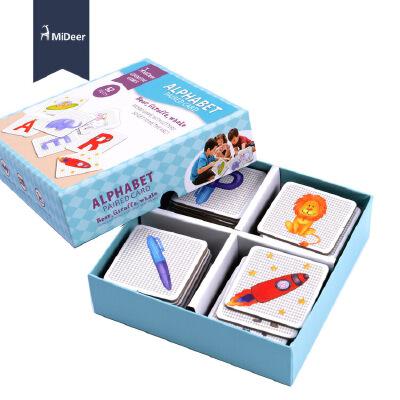 联想记忆配对字母闪卡 儿童早教认知右脑训练彩绘插图.
