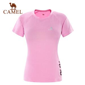 camel骆驼运动女款圆领T恤 弹力速干快干时尚简约短袖T恤