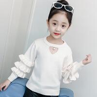 女童毛衣儿童花边袖爱心镂空针织打底衫