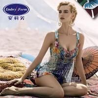 安莉芳专柜正品性感时尚印花连体性感显瘦女士泳衣