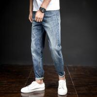 【2件1折35.9元】唐狮秋冬季新款牛仔裤男士修身小脚裤子青少年学生韩版潮流