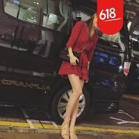 原创初秋海岛度假显瘦小红裙蕾丝钩花镂空连衣裙名媛气质修身礼服短裙GH04