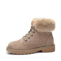 camel 骆驼女鞋秋冬新款 柔软羊毛保暖短靴女 简约系带女靴子