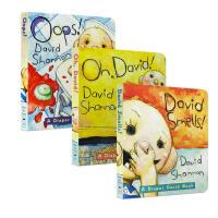 【全店300减110】英文原版3册绘本 oops Oh David smells 大卫不可以纸板书 David Shan
