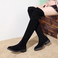 长筒靴过膝平底弹力显瘦黑色过膝长靴子女绒面学生低跟长筒靴秋冬