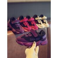 秋冬儿童鞋子爆米花底紫色女童男童学生休闲运动鞋老爹鞋