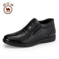 骆驼牌男靴子 新品保暖绒里真皮靴子柔软简约高帮男鞋