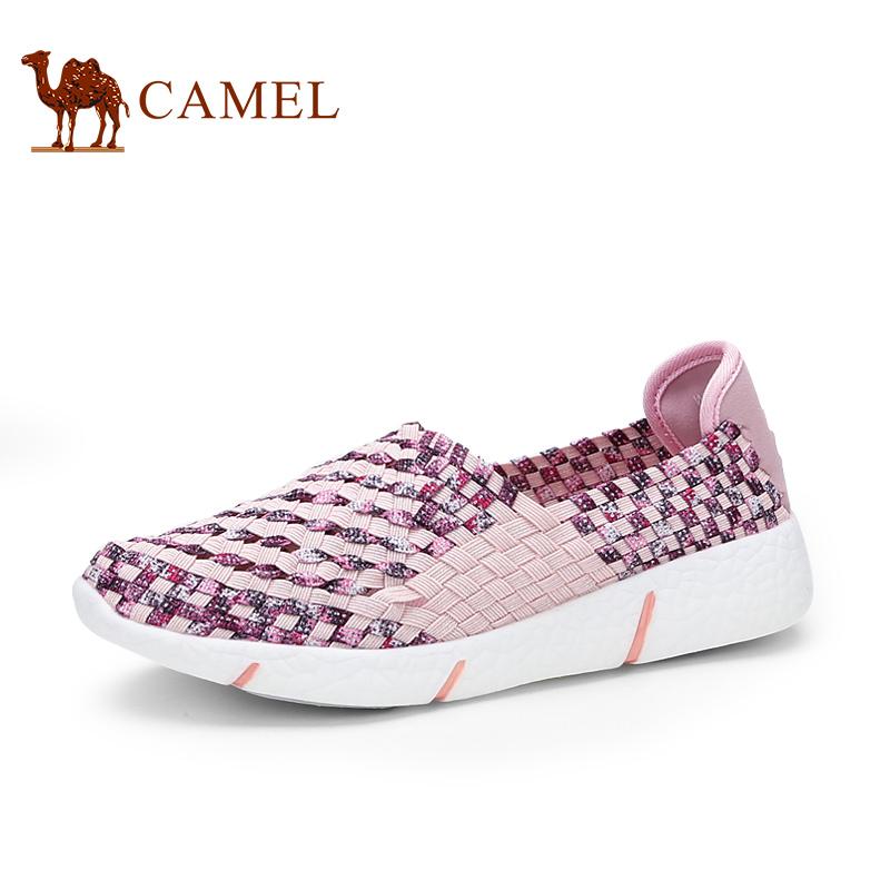 骆驼女鞋 新品镂空时尚编织鞋透气女单鞋套脚休闲鞋