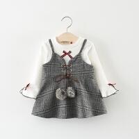 童装女童春装套装薄款儿童女宝宝长袖T恤+吊带背心裙子两件套春秋 灰色 两个毛球裙套