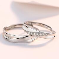 戒指一对男女纯银对戒简约活口素戒刻字礼物