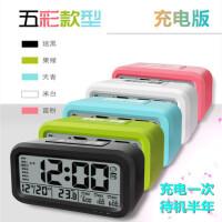 USB学生小闹钟懒人创意时尚带灯充电子夜光床头钟静音聪明钟卧室充电板