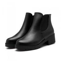 【亏本】女短靴子秋冬平底粗跟松紧带马丁靴防滑大码学生靴子