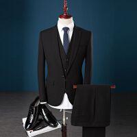 西服套装男士修身三件套春秋韩版小西装职业正装伴郎新郎结婚礼服