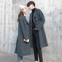 情侣装秋冬季2018新款中长款风衣一男一女毛呢大衣韩版潮呢子外套 灰蓝色