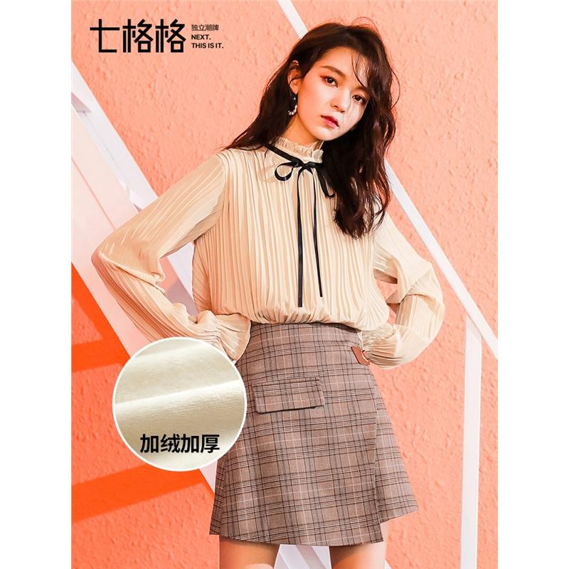 七格格洋气小衫长袖秋装女2018新款冬季加绒上衣韩版百搭雪纺衫潮