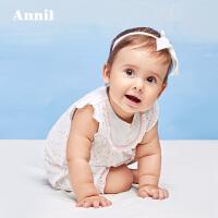 安奈儿童装女童宝宝短袖连体衣 夏季新款婴儿纯棉爬服 YG721989