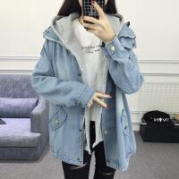 2018秋装新款初中学生韩版大码宽松bf原宿两件套中长款牛仔外套女 浅蓝色