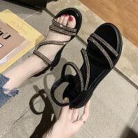 凉鞋女2019新款夏季韩版ins潮女鞋罗马鞋平底坡跟网红仙女风 40 女款