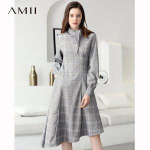 Amii极简气质chic长袖收腰连衣裙2019春新格纹复古系带公主袖礼裙