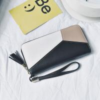 女士钱包2017新款韩版长款拉链钱夹拼接撞色手拿包零钱夹现货