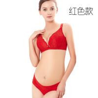 新款蕾丝大红色无钢圈哺乳文胸前开扣孕妇内衣套装怀孕产后内裤