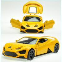 彩珀合金车1:32丹麦跑车金属汽车模型声光回力开门儿童玩具