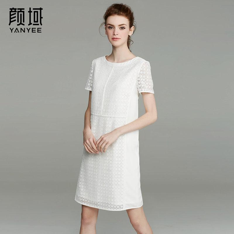颜域品牌女装2017夏季新款简约短袖直筒圆领拼接镂空蕾丝连衣裙女时尚几何纹 创意拼接设计 多色可选