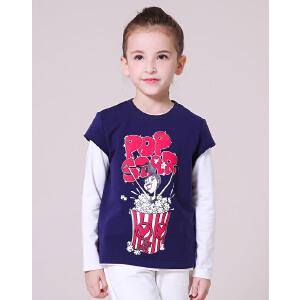 【满200减100】米奇丁当童装2017春季儿童女童中大童时俏皮印花长袖T配短袖两件套