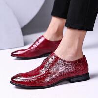 尖头皮鞋男春季鳄鱼纹透气英伦男士皮鞋尖头夜店皮鞋发型师男鞋雕花鞋子 pz 2377红色