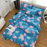 四件套宿舍床单人三件套斜纹印花床品套件床上用品 四件套2.0m床 被套200x230cm/床单2