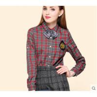 百搭舒适透气显瘦条纹长袖格子衬衫女英伦学院风学生纯棉衬衣
