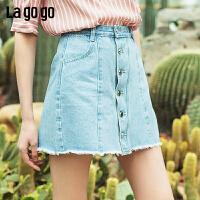 【新品5折价125】Lagogo2019夏季新款蓝色牛仔半身裙女纯色高腰A字裙IABB134C64