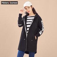 美特斯邦威风衣女士连帽中长款开衫卫衣时尚字母印花外套韩版潮流