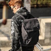 千夏书包男时尚潮流旅行包青年女男士韩版潮学生帆布休闲双肩背包 黑色