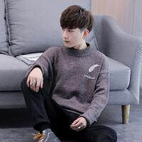 半高领毛衣男秋冬季宽松加厚中领针织衫纯色修身长袖韩版打底衫潮