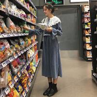 配大衣的长裙子女秋冬新款韩版宽松金丝绒过膝打底长袖连衣裙