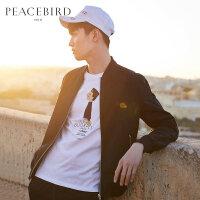 【2件2.5折】太平鸟男装 春季新款黑色飞行员夹克修身棒球服茄克外套BWBC83441