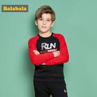 巴拉巴拉男童长袖T恤中大童卫衣秋装2017新款时尚宽松儿童打底衫