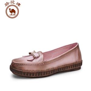 骆驼牌女鞋 春季新品舒适手工缝制单鞋女士浅口平跟套脚鞋子