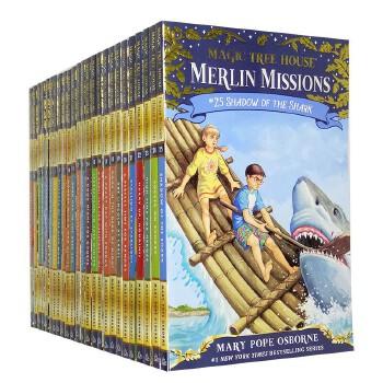 进口英文原版 Magic Tree House 神奇树屋套装29-53 梅林的任务 7-15岁 必读英文章节书,连续畅销25年,38种语言版本,累计销量突破1.34亿册,Merlin`Missions,对应老版29-52-53