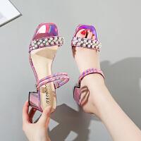 一鞋两穿夏天仙女风搭配裙子穿的鞋子网红炫彩粗跟小清新一字凉拖夏季百搭凉鞋