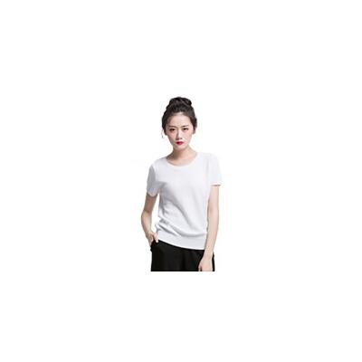 夏季冰丝t恤短袖条纹桑蚕丝棉上衣薄款网镂空针织衫女套头