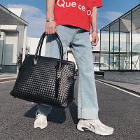 旅行包手提型新款大包 编织包韩版男士休闲手拿包韩版时尚 潮男包公文包男潮包 黑色