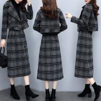 套装女2019秋冬两件套裙短款格子毛呢外套气质半身裙时尚套装 千鸟格