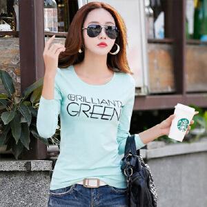 春秋新款女装上衣t恤韩版修身纯棉长袖T恤女修身体恤长袖打底衫女WK0123