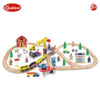 Onshine 70片木制飞机坪火车轨道车场景玩具套装 益智拆装男孩