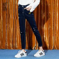 初语冬季2017年新款 破洞星星飞船印花修身显瘦牛仔裤女