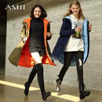 【到手价:544元】Amii极简时尚军工装白鸭绒羽绒服女2019冬新中长连帽A字加厚外套