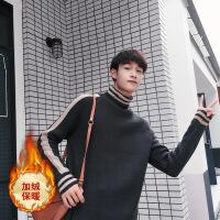 秋冬季男装高领毛衣男士宽松加绒针织衫学生韩版潮线衣青少年外套 -加绒